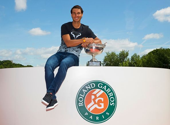 Nadal poses after winning his 10th Roland Garros title in 2017