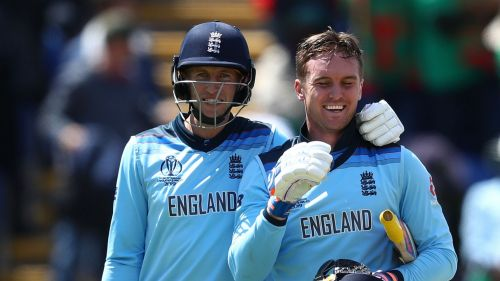 Joe Root and Jason Roy during the Cricket World Cup
