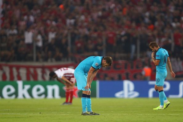 Tottenham threw away a 0-2 lead to draw with Olympiacos in the Champions League this evening