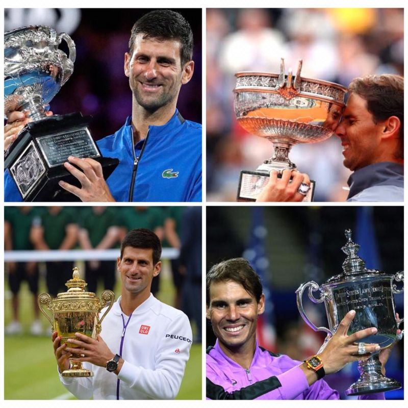 2019 Grand Slam winners (top-row: Djokovic - Australian Open, Nadal - French Open; bottom row: Djokovic - Wimbledon, Nadal - US Open)