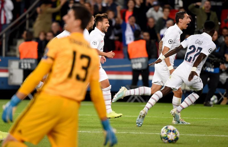 Di Maria and teammates celebrate one of their goals during a memorable win over Real Madrid
