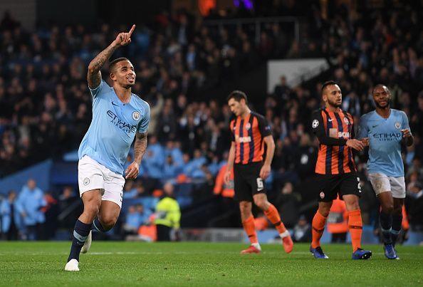 Gabriel Jesus celebrates a goal