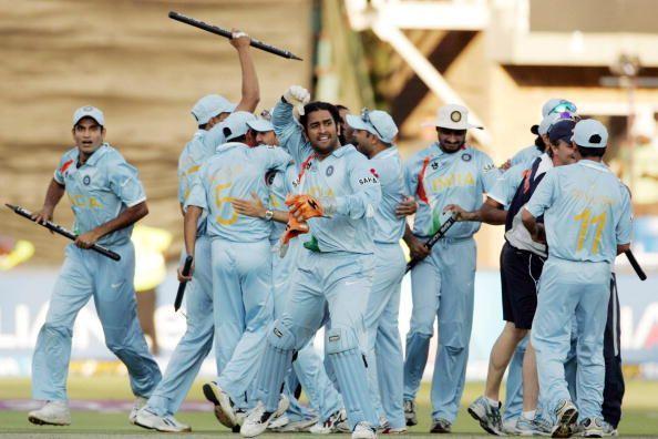 Dhoni celebrates the legendary 2007 World T20 triumph with his teammates.