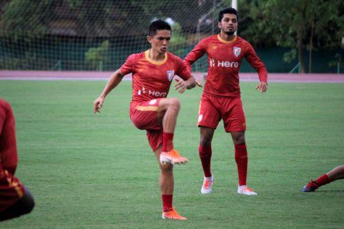 Sunil Chhetri gears up in the training session ahead of India vs Oman clash