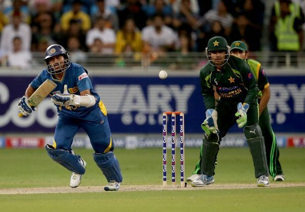 Akmal behind the stumps in an ODI against Sri Lanka.