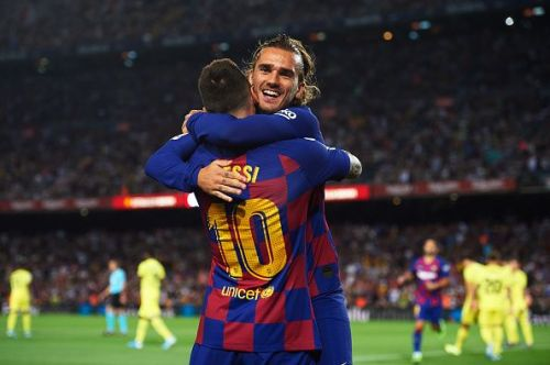 Messi got his first assist of the season as Griezmann headed his corner into the goal