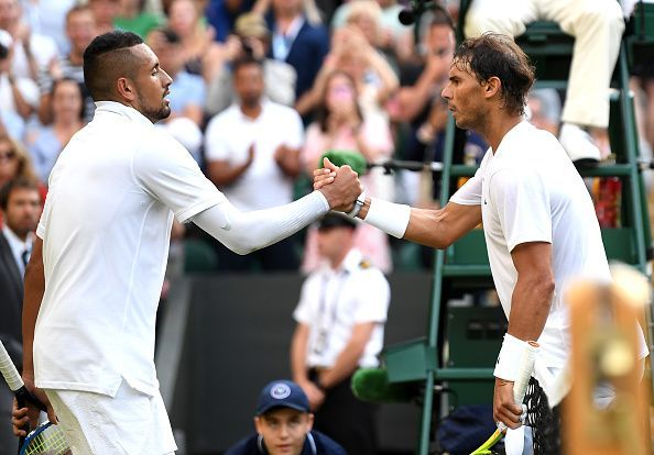 Nick Kyrgios (L) and Rafael Nadal