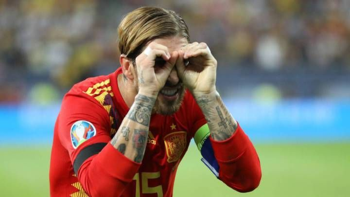 Ramos celebrates his composed penalty strike during a game which could