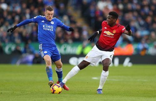 Jamie Vardy and Paul Pogba in a tussle for possession during United's 1-0 win over Leicester last term