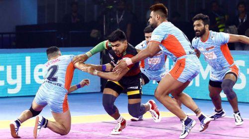 Pawan Sehrawat's 19 raid points could not help Bengaluru Bulls win their only match of the Kolkata leg
