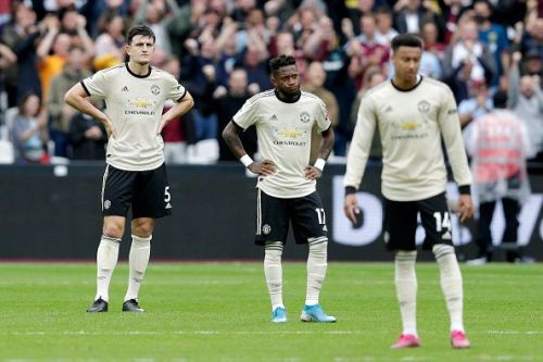 Manchester United players looking dejected after the defeat to the Hammers.