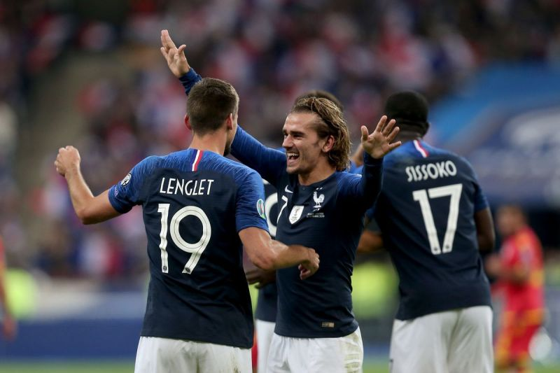 Clement Lenglet celebrates his first goal for France ed an absolute screamer in the 38th minute