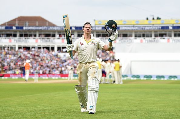 Steve Smith acknowledges the applause at Edgbaston