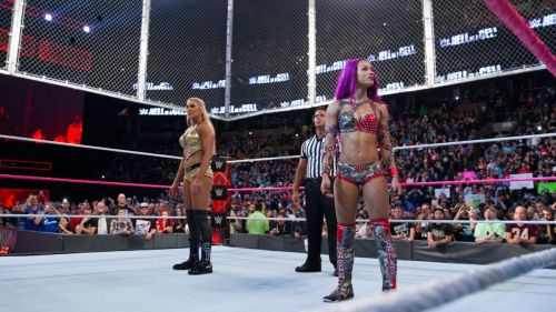 Charlotte Flair and Sasha Banks faced off in the first-ever women's Hell in a Cell. Charlotte Flair