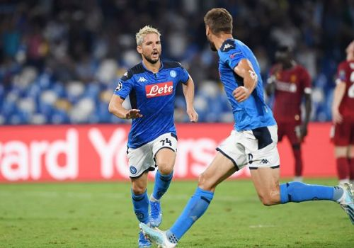 Dries Mertens celebrates his decisive spot-kick to break the deadlock against Liverpool