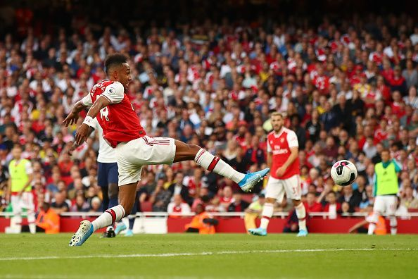 Aubameyang pokes home from close-range to level the scoring after Arsenal