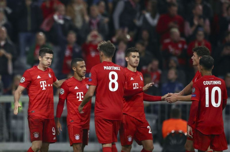 Bayern celebrate another goal at Red Star Belgrade