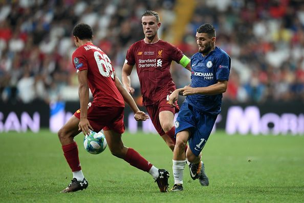 Action from the Liverpool v Chelsea UEFA Super Cup clash.