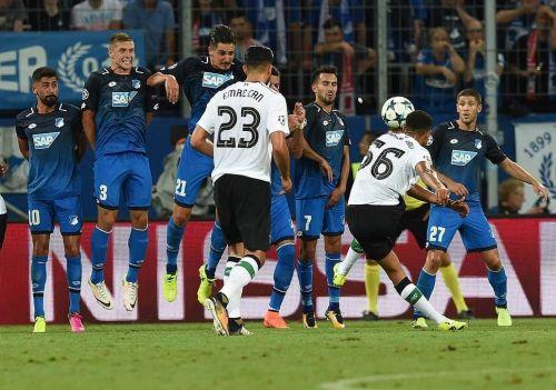 Alexander-Arnold scores his first goal against Hoffenheim