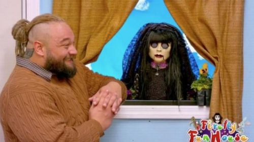 Bray Wyatt talks to the Sister Abigail puppet on the Firefly Funhouse