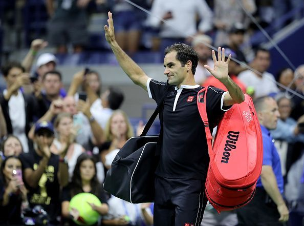 2019 US Open - Roger Federer acknowledges the New York crowd following his shock exit