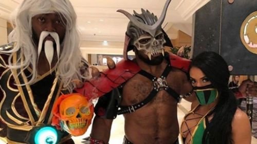 Kofi Kingston, Xavier Woods, and Zelina Vega at the Mortal Kombat 11 Release Party in January