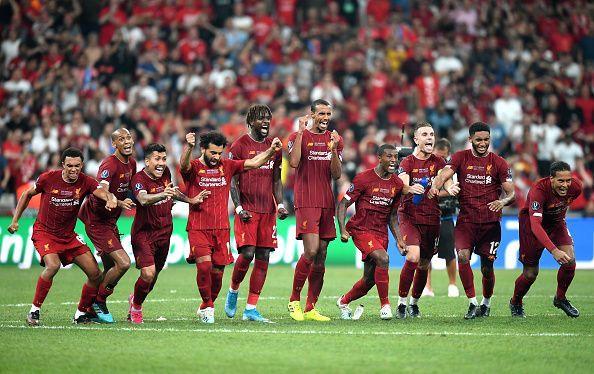 Liverpool players celebrate their UEFA Super Cup triumph.