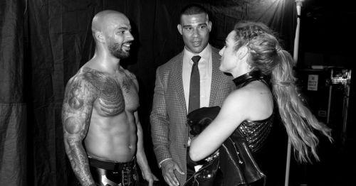 Ricochet, Jason Jordan and Becky Lynch backstage at SummerSlam.