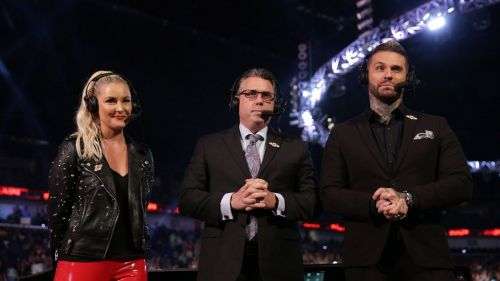 Renee Young, Michael Cole and Corey Graves call the action on Raw
