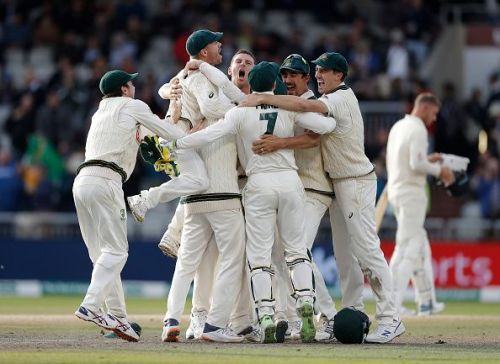 Australian players celebrate a deserved Ashes victory