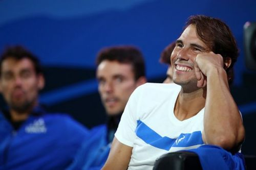 Rafael Nadal enjoys the Laver Cup 2019 action on Day 2