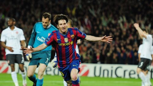 Messi exults after scoring his first four-goal haul in a Champions League game (Arsenal in 2009-10)
