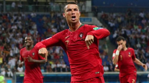 Ronaldo exults after scoring against Spain in the 2018 FIFA World Cup