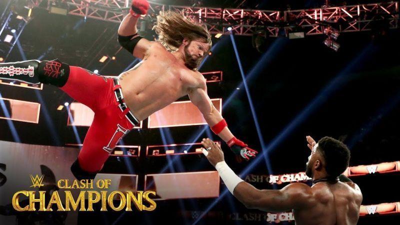 US Champion AJ Styles flies through the air against number one contender Cedric Alexander