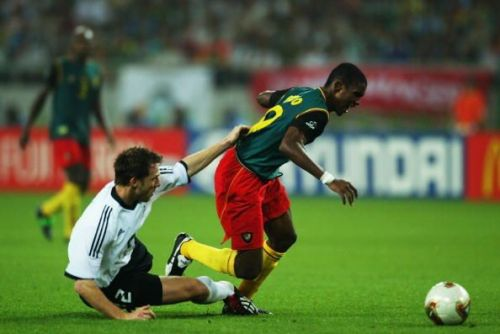 Samuel Eto'o scored his first World Cup goal in 2002