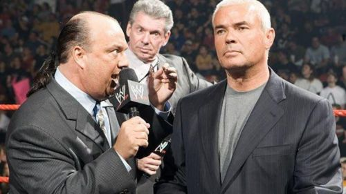 Paul Heyman, Eric Bischoff, and Vince McMahon