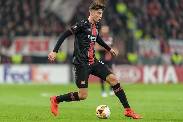 Havertz in action for Bayer Leverkusen during Euro competition last season