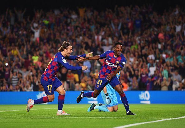 Ansu Fati celebrates his goal.