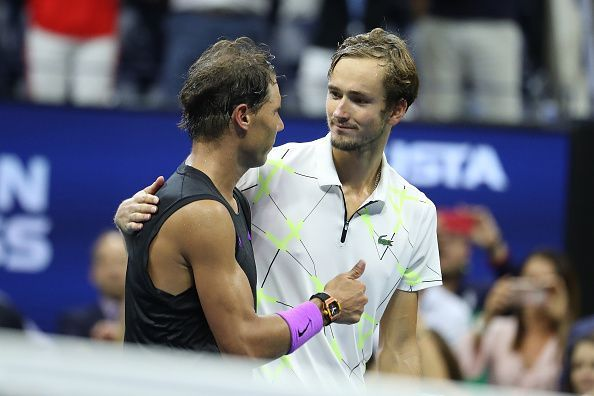 Medvedev greets Nadal at the net after falling short in an epic 2019 US Open final