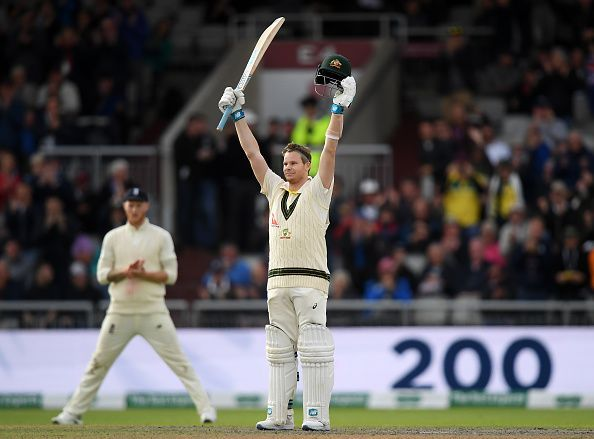 Steve Smith celebrating his double hundred against England in the first innings of the fourth Ashes Test