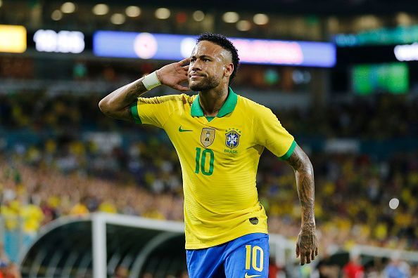 Neymar scored on his return to Brazil after an ankle injury.