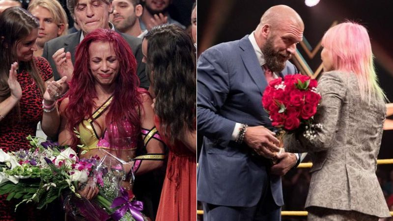 Sasha Banks and Asuka were given flowers when they left NXT