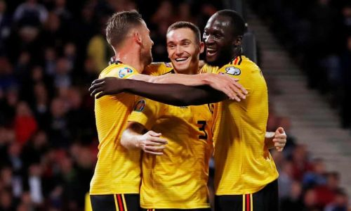 Thomas Vermaelen (middle) scored his second career goal for Belgium.
