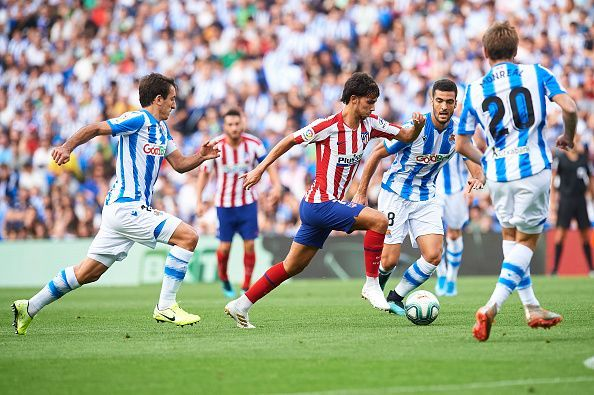 Players were quick to surround Joao Felix to prevent him from doing any damage