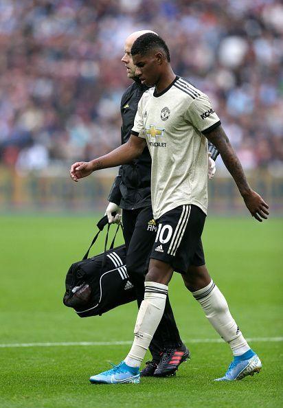 Marcus Rashford was off injured against West Ham