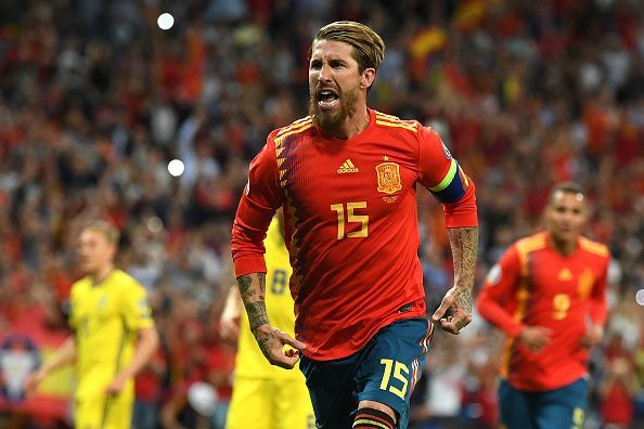 Captain fantastic - Sergio Ramos celebrates his goal for Spain against Sweden last time out