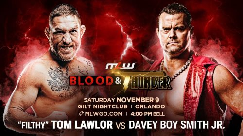 Tom Lawlor faces off against Davey Boy Smith Jr. at Blood & Thunder