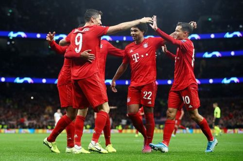Bayern Munich players celebrate during their win over Tottenham Hotspur.