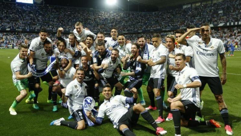 Ronaldo celebrates his second La Liga title with Real Madrid in 2016-17