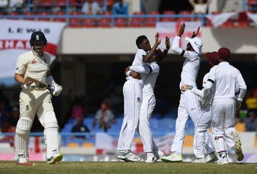 Alzarri Joseph celebrating a wicket